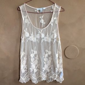 Cream lace top with beads